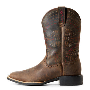 Ariat Men Sport Wide Square Toe Western Boot | Distressed Brown