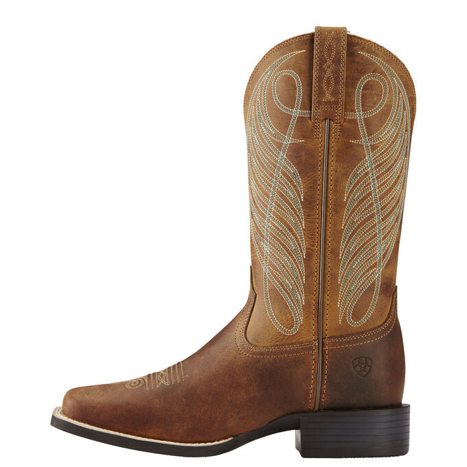 Ariat Women Round Up Wide Square Toe | Green/Brown