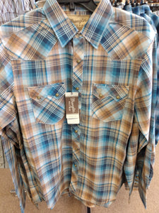 Wrangler Men Shirt  Retro Regular Fit | Brown/Blue Plaid