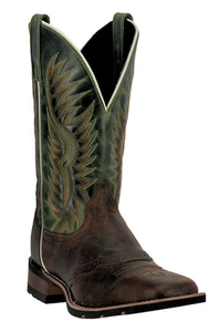 Men's Square Toe Cowboy Boot | Green & Brown