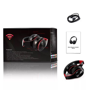 Bluetooth Wireless Headphones Foldable Black/Red with smart noise reduction