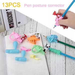 13pcs Set of Silicone Pencil Grips with a pencil case