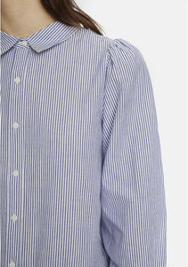 Camicia maniche a sbuffo a righine 100% cotton