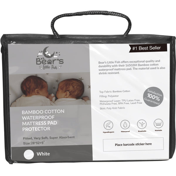 Bear's Little Fish Cot-Bed Bamboo Mattress Protector