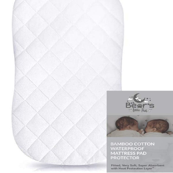 Bear's Little Fish Moses Basket Mattress Protector