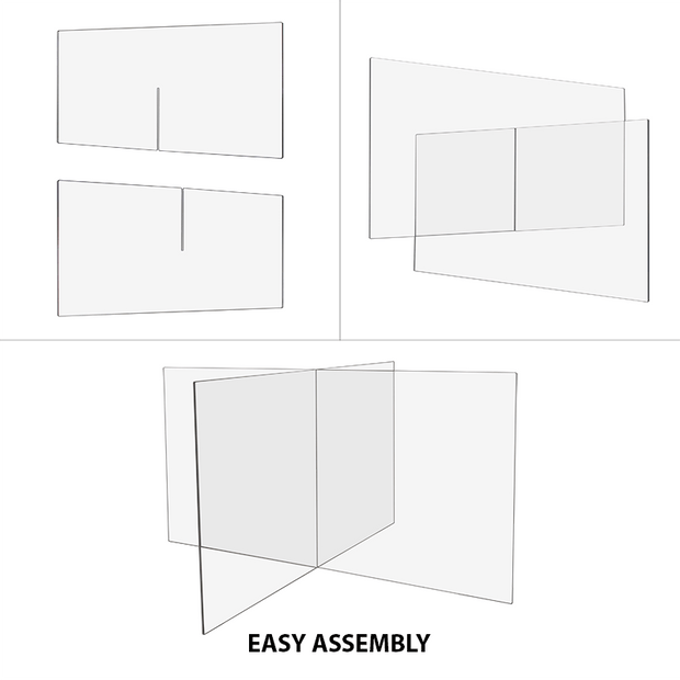 "Polycarbonate 4 Way Table Divider Shield - 23.5""H x 47.5""W x 47.5""L"