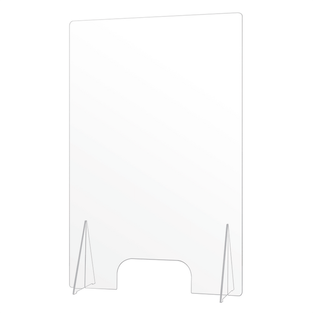 "Economy Countertop Sneeze Guard with Pass Through Opening 35.5""H x 23.5""W"