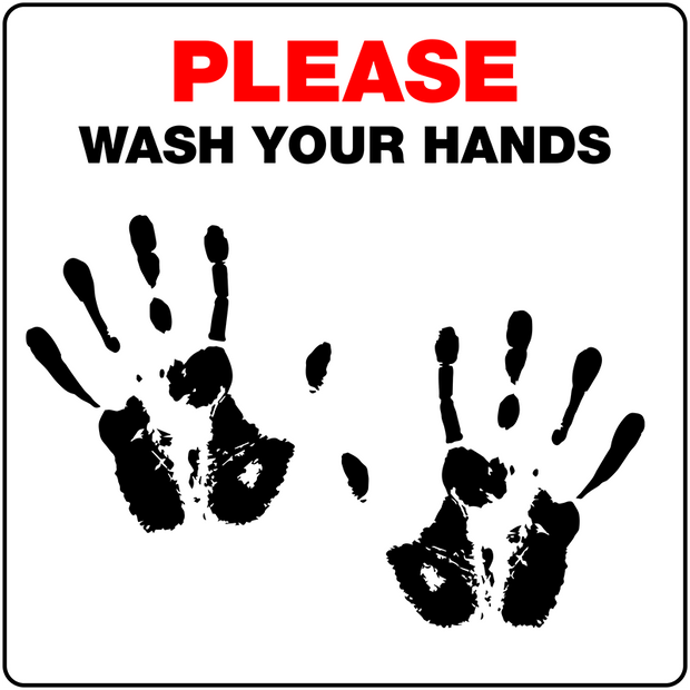 "7.5"" x 7.5"" Pre Printed Sign ""Wash Your Hands"" - Case of 10"