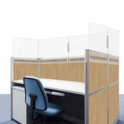 Cubicle Wall Panel Extender - Clear Acrylic with Velcro type Mount