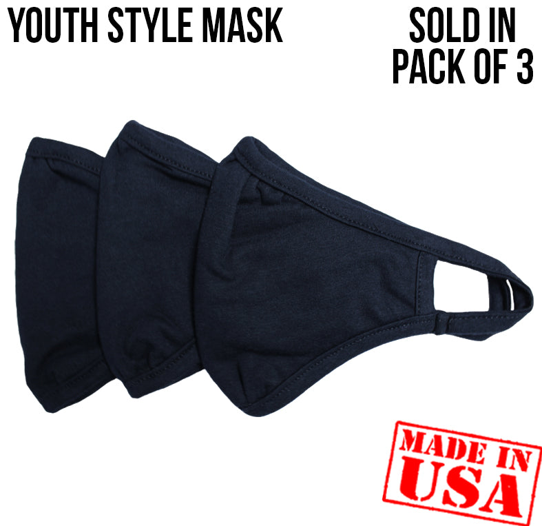 YOUTH - 2 Layer Face Masks - 3 Pack - Black (Not The DFNDR Masks)