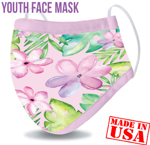 Youth Reusable Washable 3 Layer Protection Face Mask - Aloha