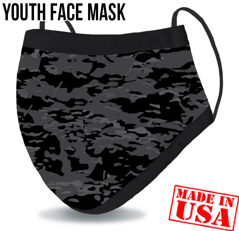 Youth Reusable Washable 3 Layer Protection Face Mask - Black Camo