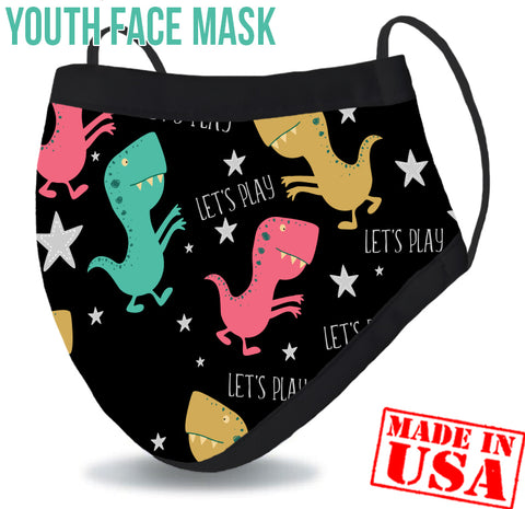 Youth Reusable Washable 3 Layer Protection Face Mask - Dino