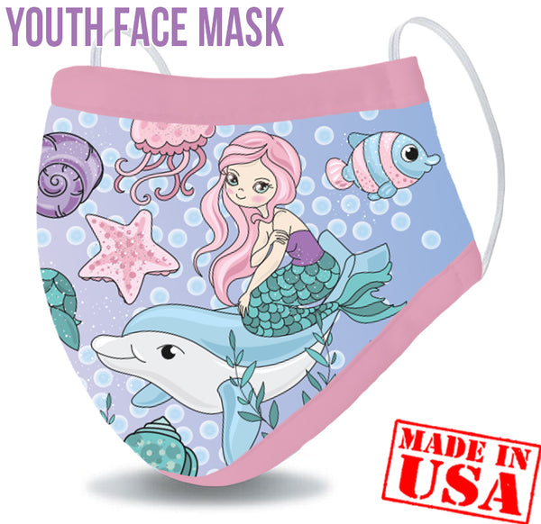 Youth Reusable Washable 3 Layer Protection Face Mask - Mermaid