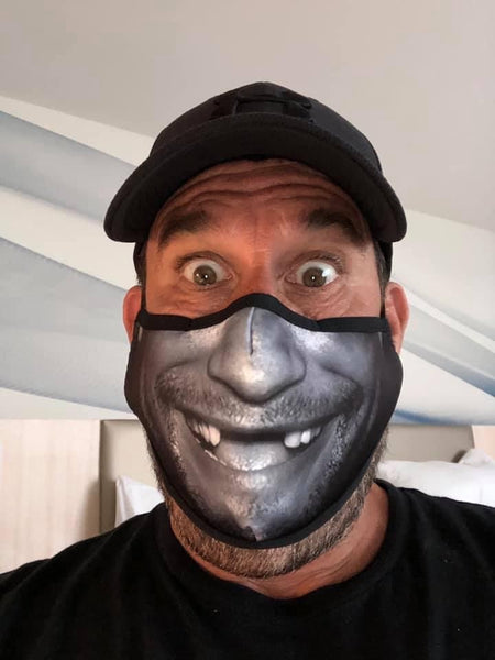 "Hendo ""Smile"" 2 Layer Protection Face Mask - Black/Gray"