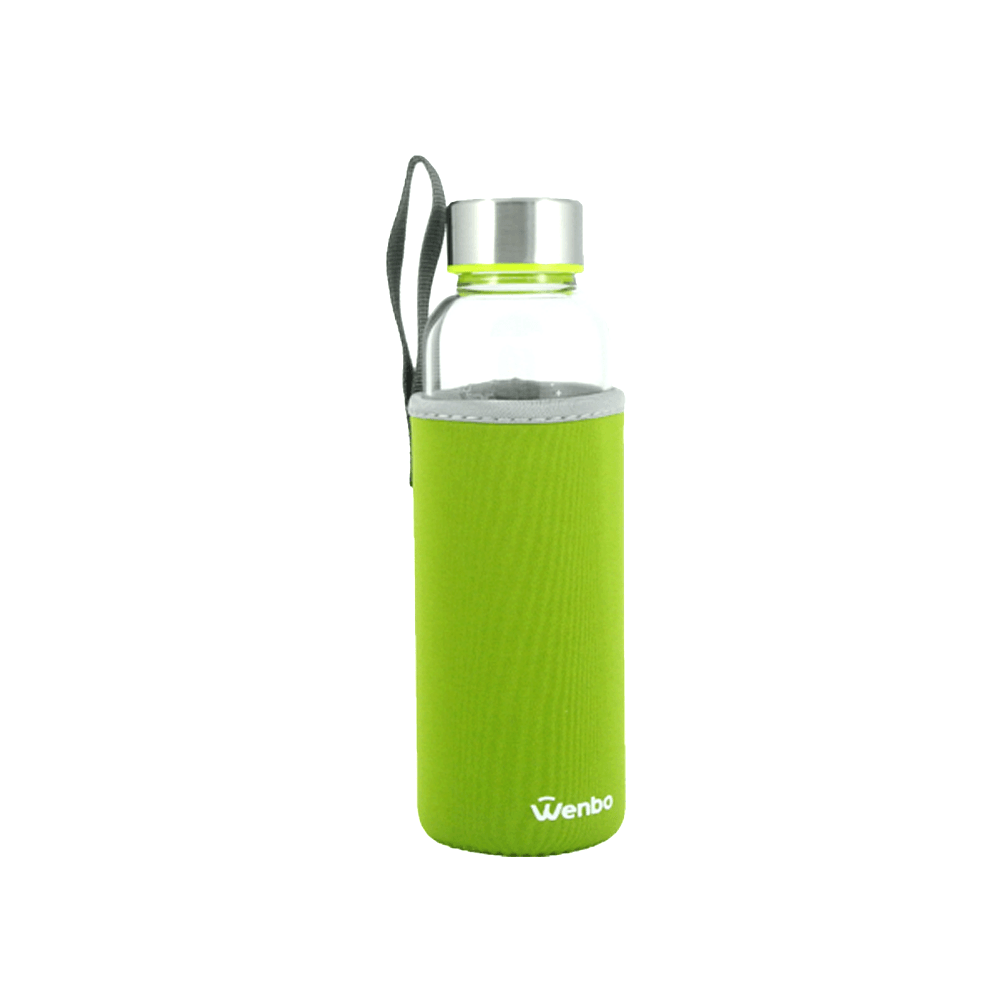 Healthy BPA-free Glass Water Bottle - Green (360ml)