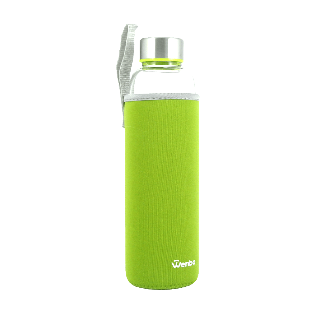 Healthy BPA-free Glass Water Bottle - Green (550ml)