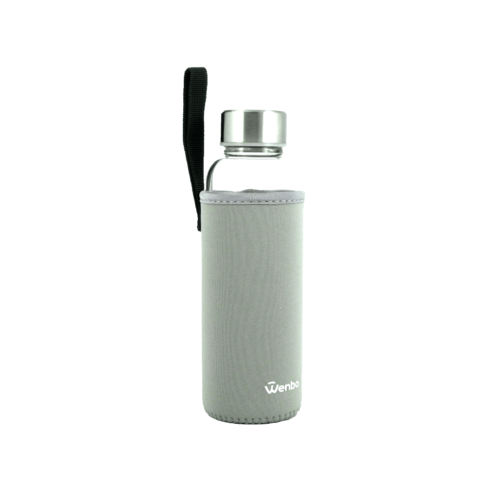 Healthy BPA-free Glass Water Bottle - Grey (360ml)