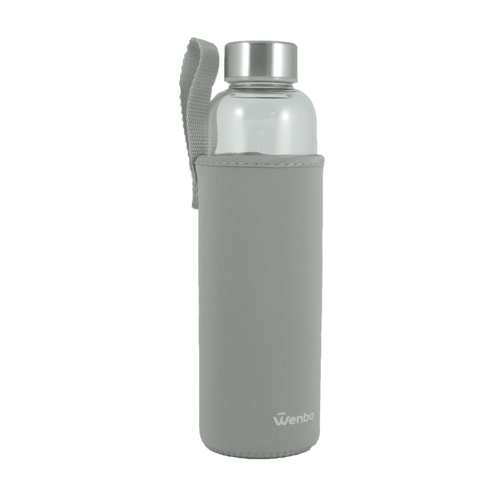 Healthy BPA-free Glass Water Bottle - Grey (550ml)