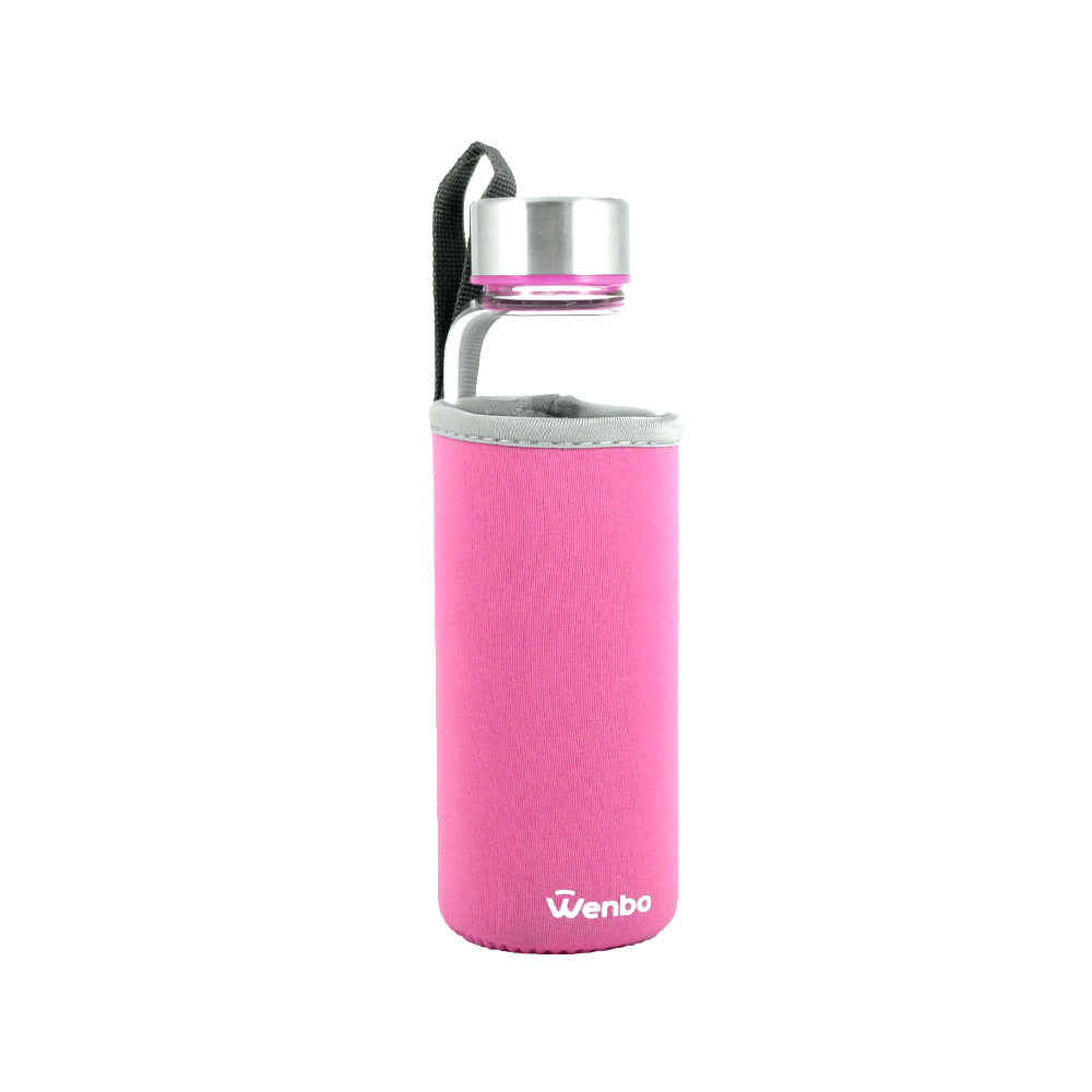 Healthy BPA-free Glass Water Bottle - Pink (360ml)
