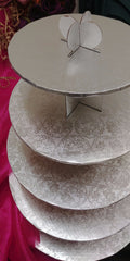 NEW PRODUCT:  5 Tier Silver or White Embossed Cake Display Stand