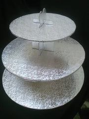 SLIGHTLY IMPERFECT Cupcake Stand Silver Foil-Embossed Rose pattern - 3 tier