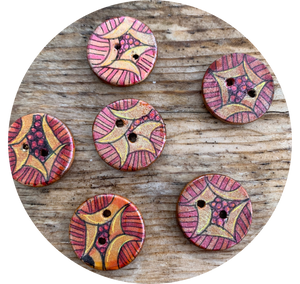 "3/4"" Hand Painted Round Buttons."