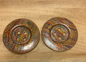 "2.25""Hand Painted Wood Buttons."
