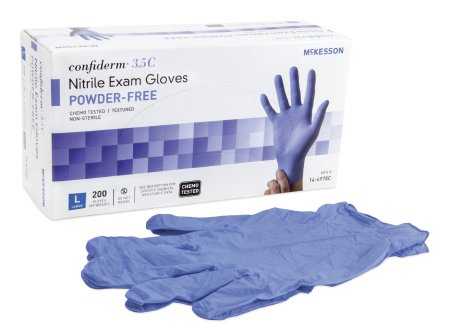Exam Glove McKesson Confiderm® 3.5C Large NonSterile Nitrile Standard Cuff Length Textured Fingertips Blue