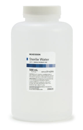 McKesson Sterile Water for Irrigation Not for Injection Bottle, Screw Top 500 mL