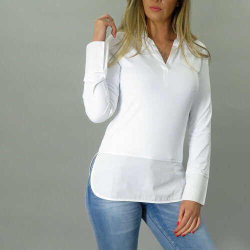 Peggy long line shirt in white by deck by decollage.