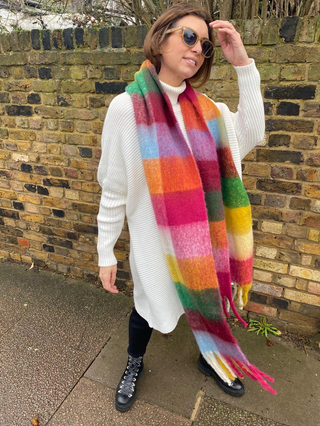 'Lennie' Checked Scarf in Pink Multi