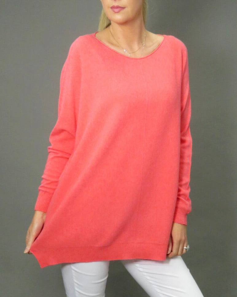 Oversized Jumper in Coral