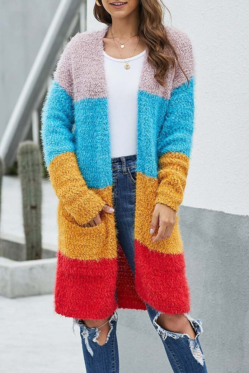 Florcoo Multicolor Stitching Knit Cardigan
