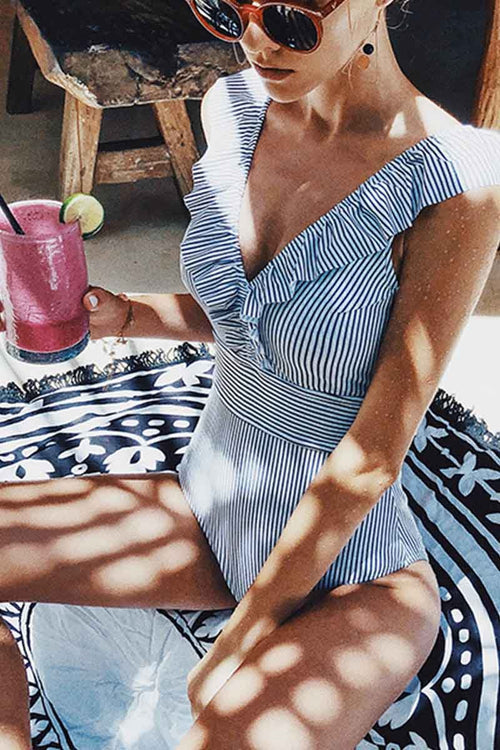 Florcoo Ruffled Striped One-Piece Swimsuit ( 3 Colors)