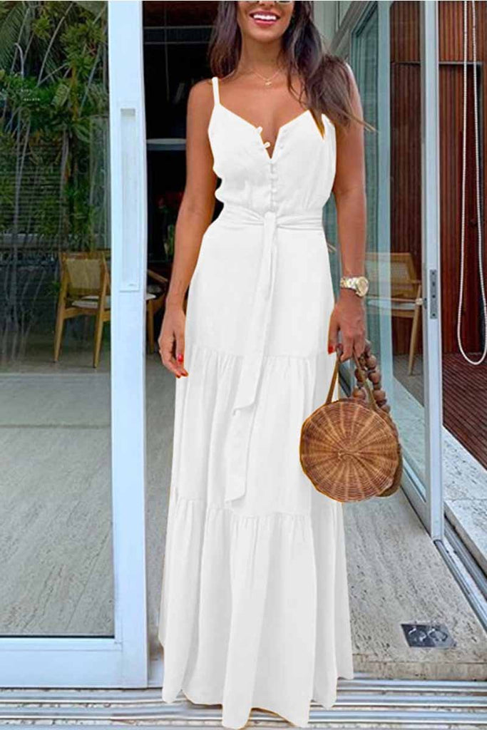 Florcoo Button V-Neck Maxi Dress With Belt