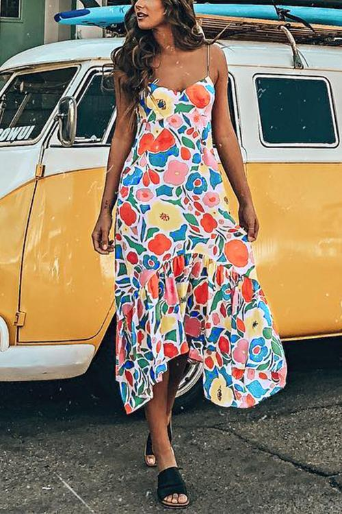 Florcoo Floral Printed Summer Backless Mid Calf Dress With Pocket