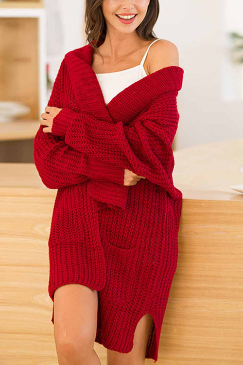 Florcoo Knitted Red Long Sweater Coat