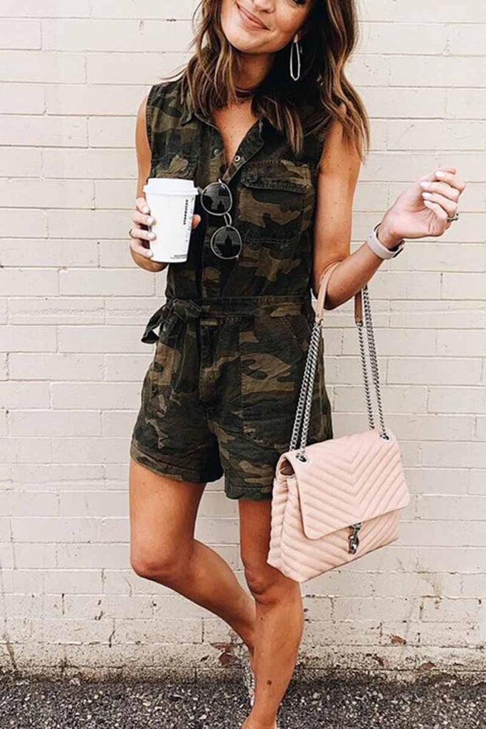 Florcoo Camouflage Denim Rompers