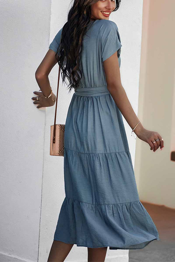 Florcoo Pure Color Simple Restraint Waist Midi Dress