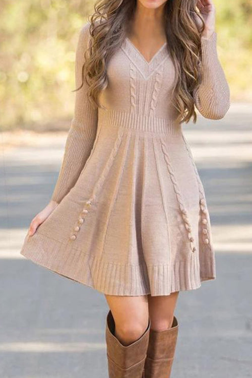 Florcoo Loose knitted Sweater Dress