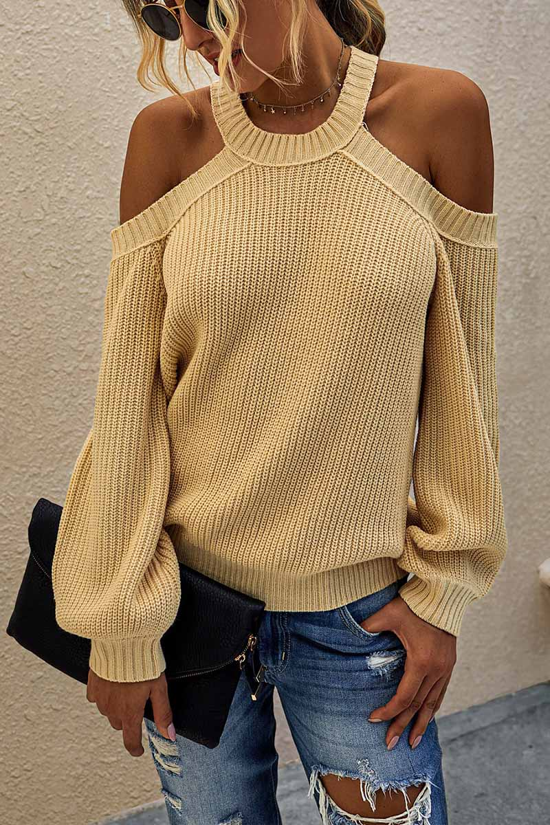 Florcoo Solid Off-shoulder Knitted Sweater