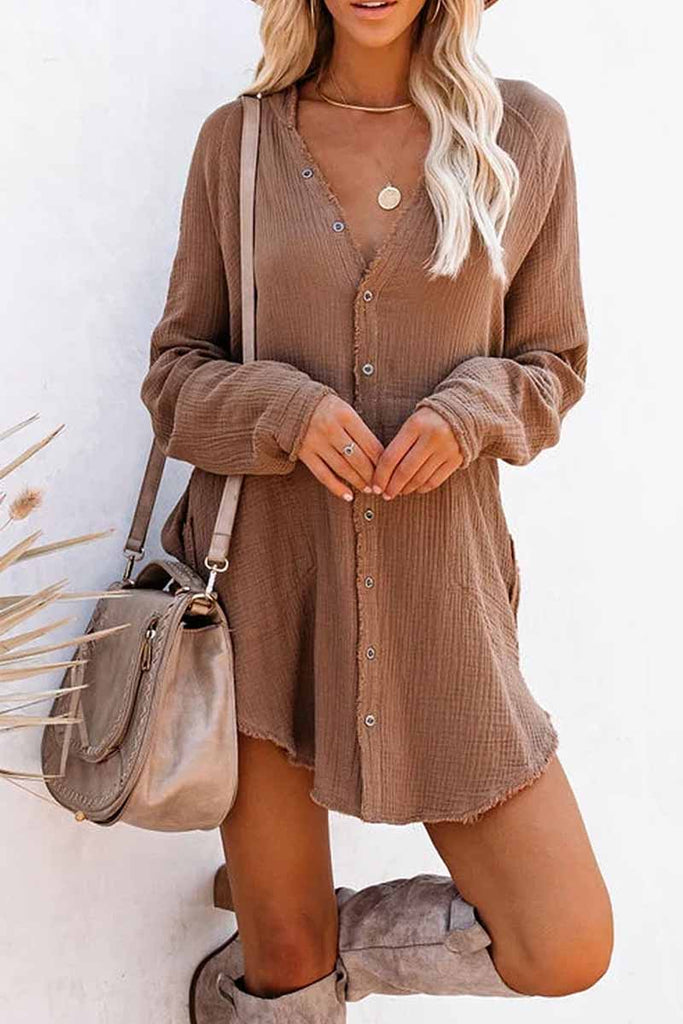 Florcoo Seersucker Fringed Long Sleeves Mini Dresses