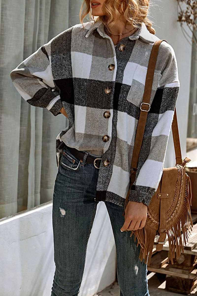 Florcoo Casual Fashion Loose Lapel Plaid Tops