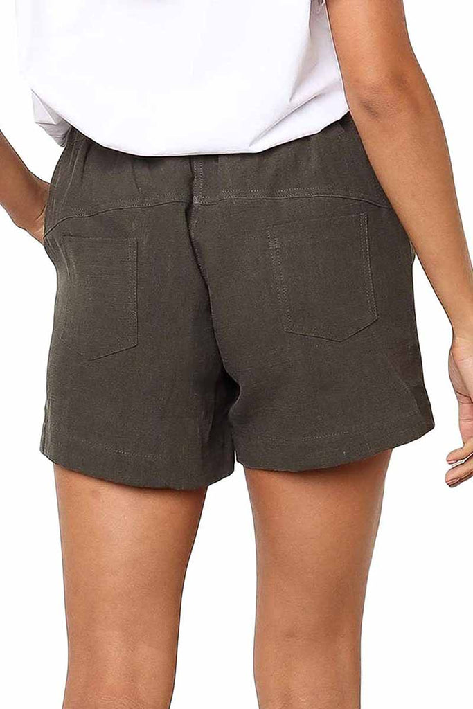 Florcoo Adjustable Waist Cotton Casual Shorts
