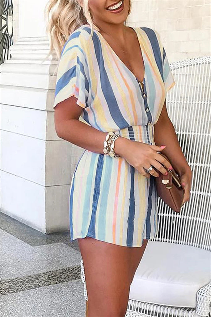 Striped Buttons V Neck Loose Jumpsuits