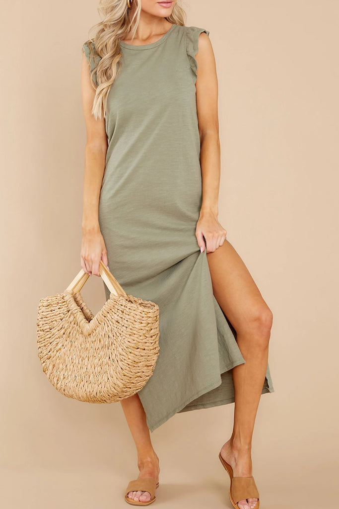 Fashion Casual Solid Slit O Neck Straight Dresses