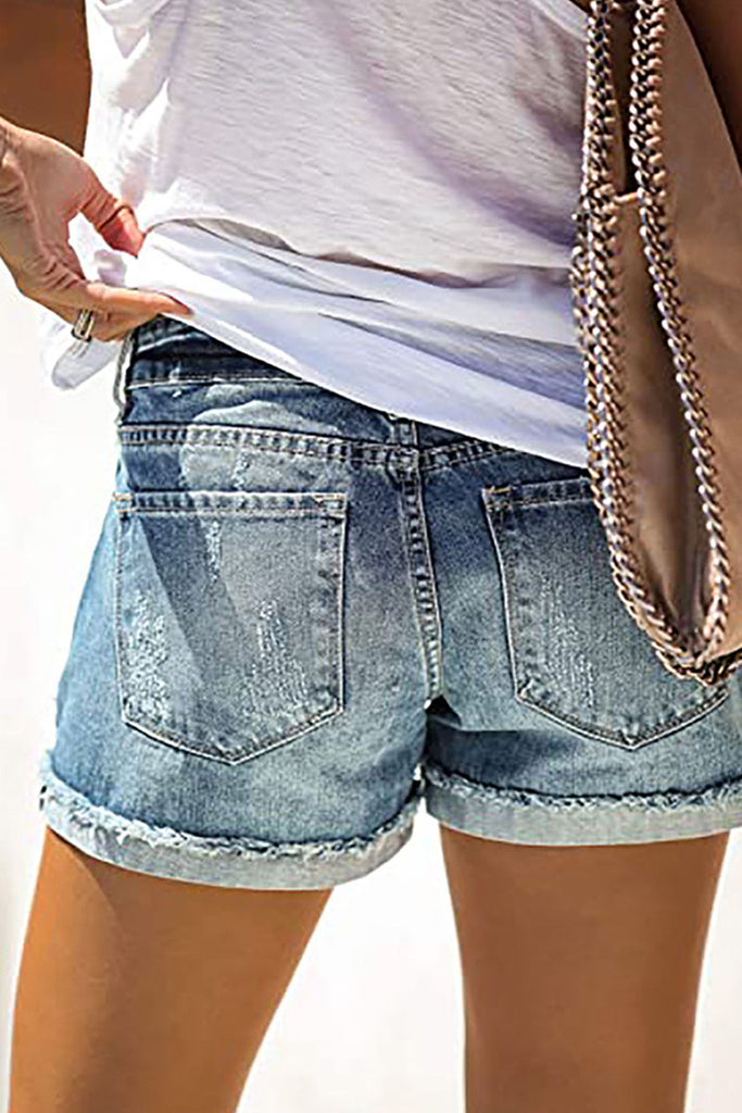 Fashion Street Patchwork Ripped Mid Waist Straight Denim Shorts