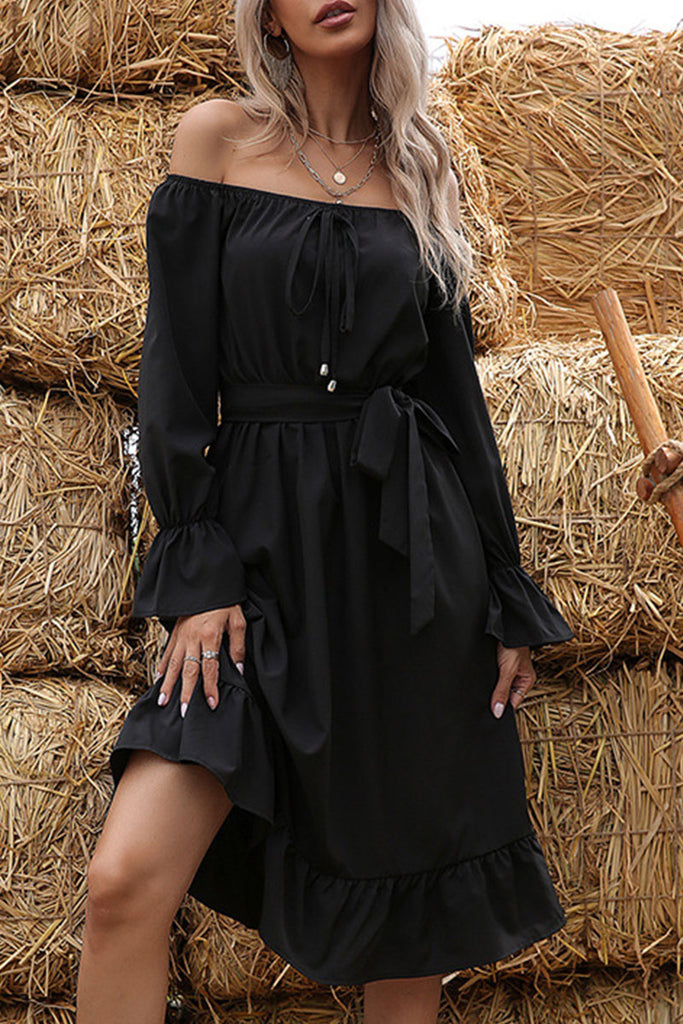 Fashion Street Solid Split Joint Off the Shoulder A Line Midi Dresses