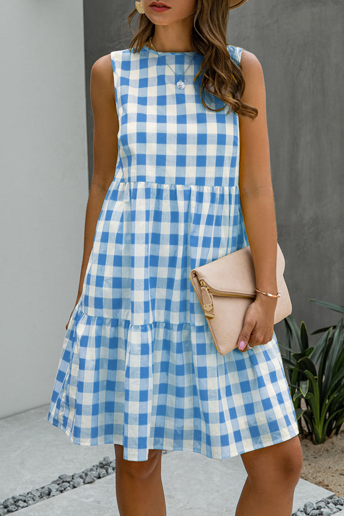 Fashion Street Plaid Split Joint O Neck Princess Midi Dresses